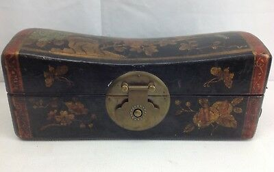 Vtg Asian Chinese Aged Leather Wood Box Bird Jewelry Letter Writing Stash