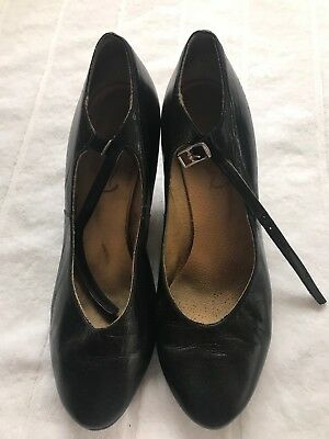 Black Bloch Leather Cabaret/character, Jazz  Dance Shoes Chorus Heel Size 7 -Vgc