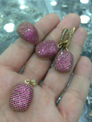 Turkish 925 Sterling Silver Handmade Jewelry Micro Pave Ruby  Ladie's  Set