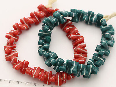 2 Armbänd 80 rot-türkise Recycling Glasperlen 15x7mm Ghana Trade Beads W-Afrika