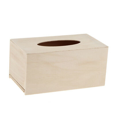 Unfinished Wood Tissue Box Holder Natural Wooden Box Cover Craft Home Decor