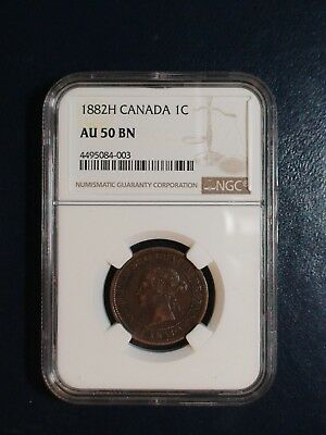 1882 H Canada LARGE CENT NGC AU50 BN 1C Coin PRICED TO SELL NOW!