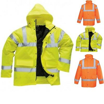 Portwest Hi Vis Hooded Waterproof Contractors Parka Traffic jacket Coat