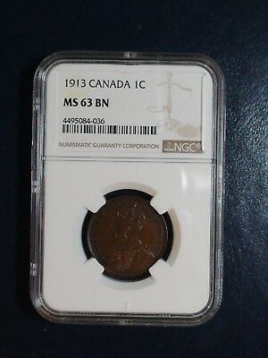 1913 Canada LARGE CENT NGC MS63 BN UNCIRCULATED 1C Coin PRICED TO SELL NOW!