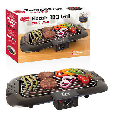 Quest BBQ Grill Electric Griddle Table Top Teppanyaki Indoor Barbecue 2000W