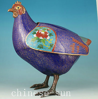 big  Chinese Cloisonne Bronze Handmade Carved chicken Statue Figure