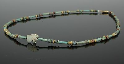 Beautiful Ancient Egyptian New Kingdom Faience Bead & Amulet Necklace (106)