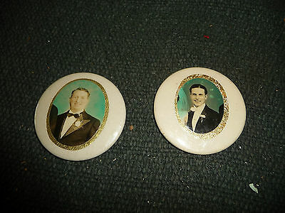"""#511 vtg 2 celluloid hand mirrors Well Dress Men in Tuxedos  2 1/4"""" round"""