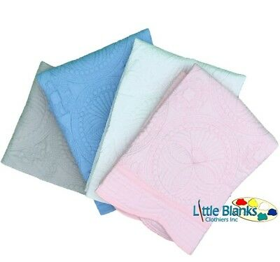 New Baby Scallop Edged Heirloom Baby Quilt Embroidery Blanks Plain Blanket