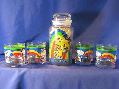 Snoopy Rainbow Goodie Canister & Four (4) Snoopy Rainbow Glass Tumbler Glasses