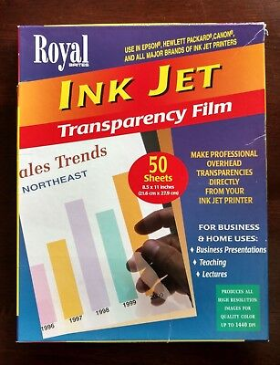 1997 Royal Brites Ink Jet 8.5 x 11 Transparency Film-Partially Used - 15 Sheets