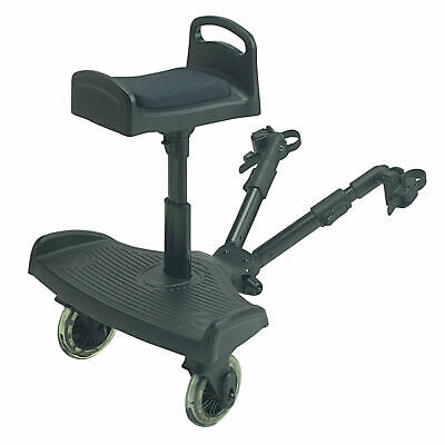 Ride On Board With Saddle Compatible With Hauck Stroller Buggy Pram - Black
