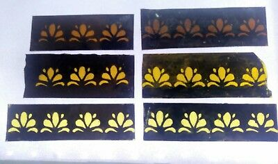 Stained Glass x 6 - Border pieces, antique style design. Hand painted kiln fired