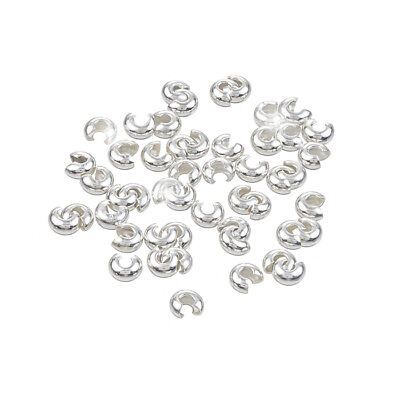 Silver Plated Crimp Bead Covers Round Findings 4mm Pack of 50 (H44/5)