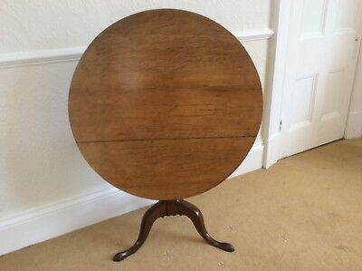 Antique  Oak Round Circular Tilt Top Table