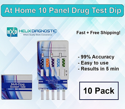 10 Panel Urine Drug Testing Kit - Home & Work Test for 10 Drugs -Free Shipping!