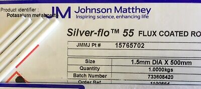 silver solder Johnson Matthey Silverflo 55 flux-coated 5 rods x 250mm 1.5mm