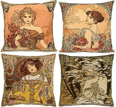 "Set Of 4 New Alphonse Mucha  Seasons 18"" Belgian Tapestry Cushion Covers + Zips"