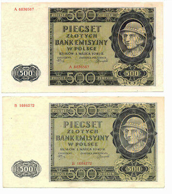 2x POLAND 500 Zlotych 1940, Series: A and B