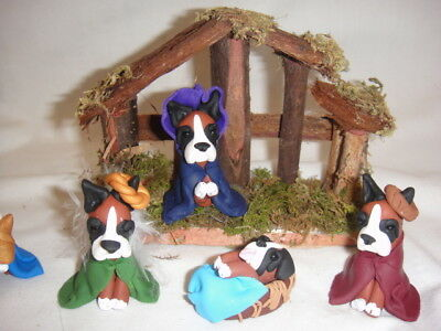Handmade Clay Boxer Dog Nativity Set of 4 Pieces