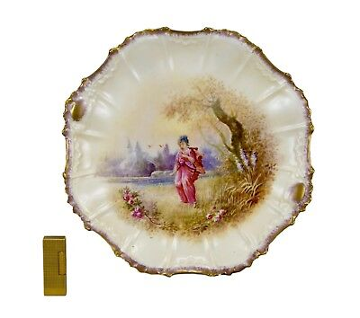 French Large Hand Painted Limoges Porcelain Wall Plate Charger Japanese Decor