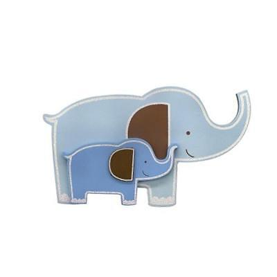 "Babies""R""Us 2336 Blue Wooden Nursery Hanging Elephant Wall Decor 15 Inch BHFO"