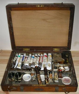 Antique Winsor & Newton Wooden Artist Box Many Original Features and Paints