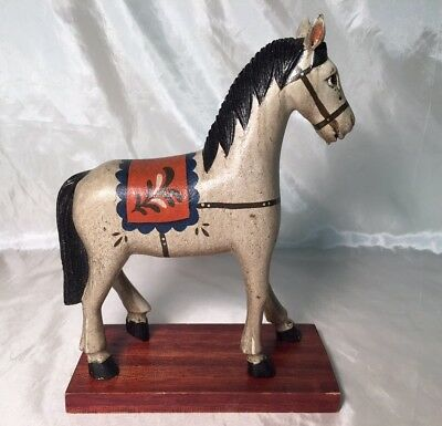 "Rare Beautiful 9"" Antique Vintage Hand Painted Wood Horse Figurine Statue Saddle"