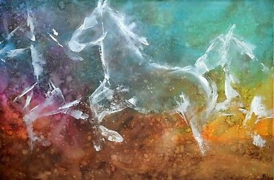 Original Mixed Media Horse Painting 'Daydreaming' By Ivette Fine Art 24x36