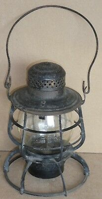 Northern Pacific Railway lantern with clear NPRR embossed tall globe