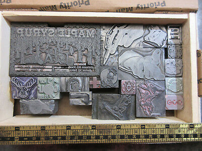 (19) Misc. Letterpress Print Blocks / Cuts - Solid Lead   J68