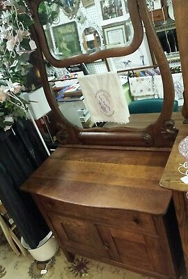 Antique Oak Wash Stand with Towel Bar Original Finish Panel Sides mirror ornate