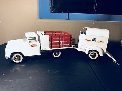 1950s TONKA PRESSED STEEL FORD STAKE BED PICKUP TRUCK/TONKA FARMS HORSE TRAILER