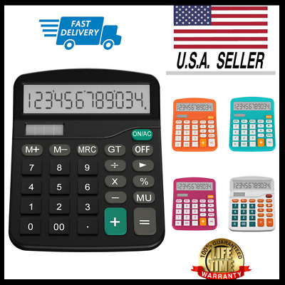 Desktop Calculator Basic Office Business Home Standard Solar Big Large Display