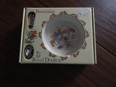 Vtg. 1981 Royal Doulton Nursey Set, Baby Bowl & Feeding Spoon, NIB, Made in Eng.