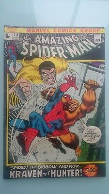 Amazing Spiderman # 111  Fn+  Vs  Kraven The Hunter  Vs  The Gibbon  Pence  1972