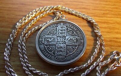 """1859 Victorian Gothic Silver Florin Pendant on a 24"""" Italian Silver Rope Chain"""