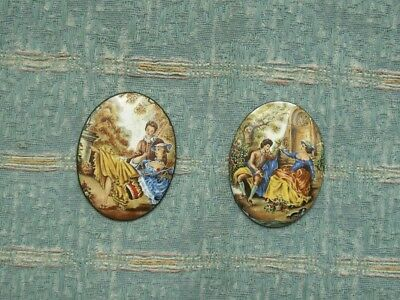 Old Pair Small Oval Metal Enamel Plaques Figure Scene Eighteenth Century Costume