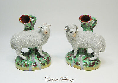 "Pair of Antique Old Staffordshire Ware Sheep Spill Vases - 7.5""  Excellent!"