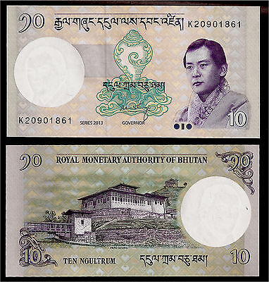 World Paper Money - Bhutan 10 Ngultrum 2013 P29b @ Crisp UNC