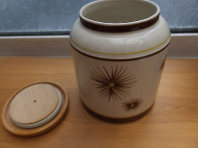 Vintage Toni Raymond Pottery Biscuit Barrel with  Pattern Decoration