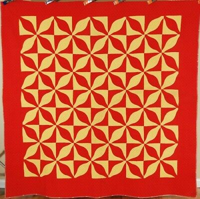 EXQUISITE Vintage 1870's Red & Yellow Calico Melon Patch Antique Quilt ~VIBRANT!