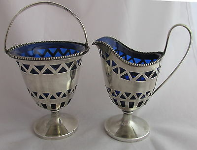 Antique Sterling Silver&Cobalt Blue Glass Lined Creamer&Sugar Bowl Old Colonial