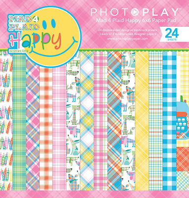 SCRAPBOOKING CRAFTS PP 6X6 Paper Pad Mad 4 Plaid Happy Patchwork Dogs Bright