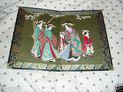 Chinese Or Japanese Folding Brocade Wood Block Print With Gilt