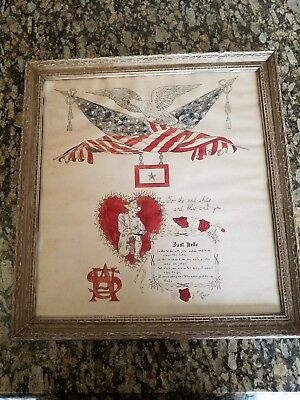 World War 1 folk trench art poem vintage antique military flag picture painting