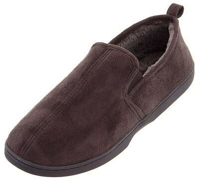 Perry Ellis Mens Brown Solid Twin-Stretch Moccasin House Slippers Size 13