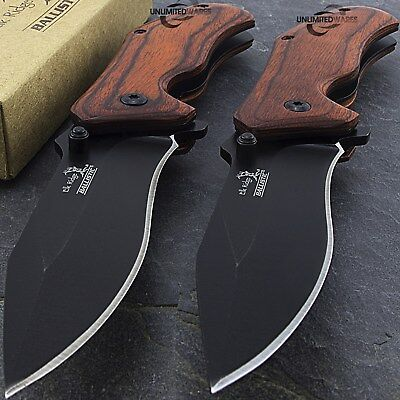 "2 x 7"" ELK RIDGE WOOD SPRING ASSISTED FOLDING TACTICAL POCKET KNIFE Open Assist"