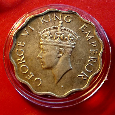 Handsome Toned 1943 INDIA English_ George VI  1 ANNA, Great crown with HOLDER!