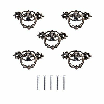 BCP 5pcs Vintage Cabinet Knob Cupboard Drawer Dresser Ring Pull Handle with Scre